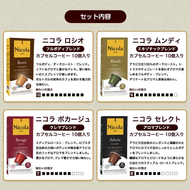 ネスプレッソ(R)互換カプセル 4種セット 40カプセル入り 送料無料 ニコラ カプセルコーヒー