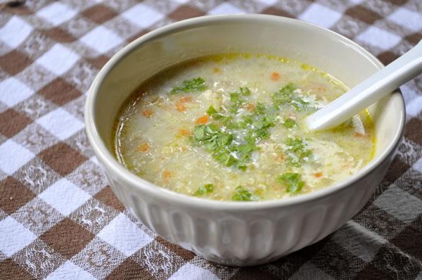 オートミールとレンズ豆のスープ