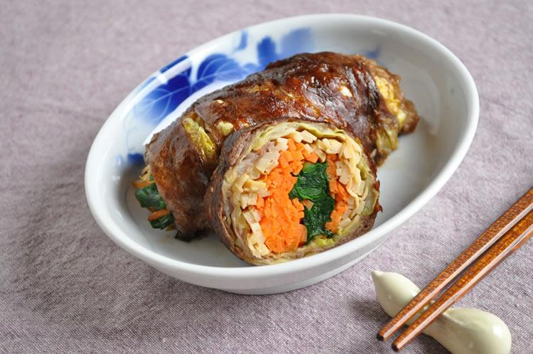 筍と野菜の牛肉太巻き