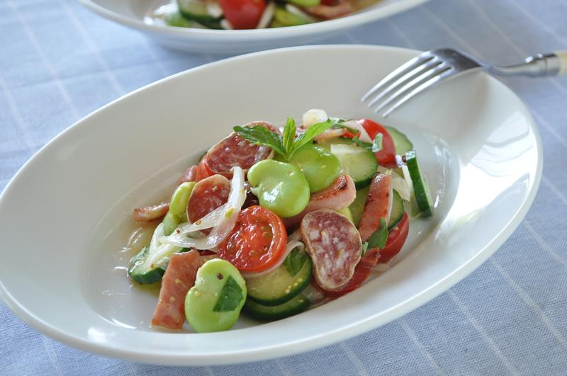 空豆のサラダをポルトガルスタイルで