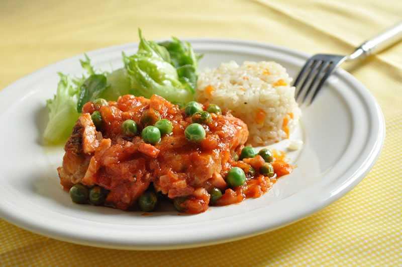 ポルトガルの豆料理 ~えんどう豆と鶏肉の煮込み~