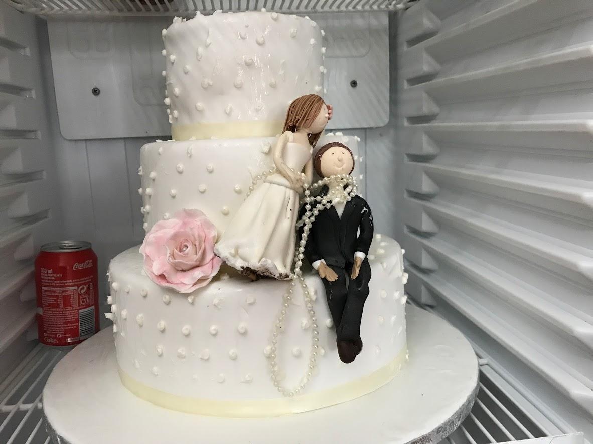 私たちが訪れた前の週末に結婚式があったようで、その時のケーキの残り。日本では考えられないユニークなデザイン?!