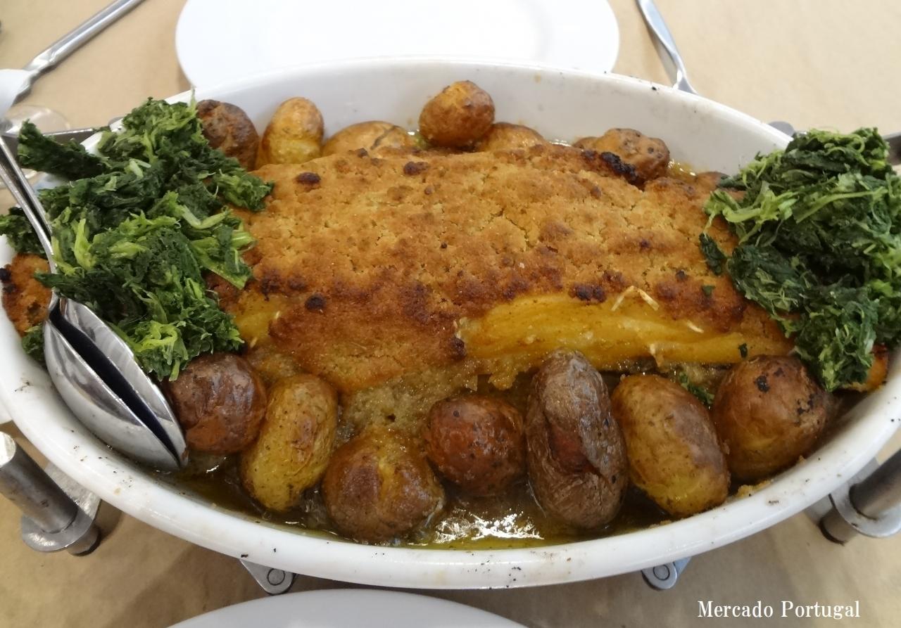 バカリャウ・コン・ブロア オリーブオイルをたっぷり入れてオーブンで焼きます